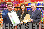 Handing over the Tidy Towns gold medal to Garvey's SuperValu Tralee on Monday morning was Brendan O'Brien (Chairman Tralee Tidy Towns) to Sandra Lynch (Manager of Garvey's Tralee and Kevin McCarthy Md Garvey's).