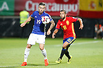 Spain's Jordi Alba (r) and Liechtenstein's Dennis Salanovic during FIFA World Cup 2018 Qualifying Round match. September 5,2016.(ALTERPHOTOS/Acero)