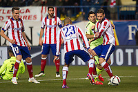 Atletico de Madrid´s Joao Miranda, Saul Niguez, Raul Garcia and Mario Suarez and Barcelona´s Luis Suarez during 2014-15 Spanish King Cup match between Atletico de Madrid and Barcelona at Vicente Calderon stadium in Madrid, Spain. January 28, 2015. (ALTERPHOTOS/Luis Fernandez) /nortephoto.com<br />
