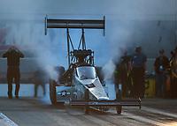 Oct 11, 2019; Concord, NC, USA; NHRA top fuel driver Mike Salinas during qualifying for the Carolina Nationals at zMax Dragway. Mandatory Credit: Mark J. Rebilas-USA TODAY Sports