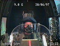 BNPS.co.uk (01202 558833)<br /> Pic: SueAdcock/FAST<br /> <br /> Sue Adcock on a massive 9G run to test helmets and oxygen masks in 1997.<br /> <br /> Sci-fi 'Centrifuge' to open its doors to the public after 64 years...<br /> <br /> A remarkable Cold War relic which has put thousands of pilots through their G-force paces has made its final spin after six decades. <br /> <br /> The Top Secret building at the former RAE Farnborough test site is now open to the public for guided tours led by the scientists from FAST who used to work there.<br /> <br /> The Farnborough Centrifuge was used to simulate huge 9G forces - nine times more than a human body is designed to absorb - they would encounter while flying fast jets during combat operations.<br /> <br /> The pilot would sit in a small compartment replicating a cockpit at the end of the 60ft rotating arm and be propelled at over 60mph, spinning 30 times a minute.<br /> <br /> A staggering 122,133 tests were performed on it before it was decommissioned in March this year, with a new centrifuge installed at RAF Cranwell.<br /> <br /> It featured on an episode of Top Gear in 2000 when Jeremy Clarkson had a go on it at 3G, leaving him in obvious discomfort. He described the force exerted on him as like 'having an elephant sat on my chest'.<br /> <br /> The centrifuge, which is being displayed for the public for the first time, also appeared in the 1985 comedy film Spies Like Us starring Chevy Chase and Dan Ackroyd.