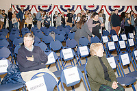 People wait in the audience after Democratic presidential candidate and Massachusetts senator Elizabeth Warren spoke at a Town Hall campaign event in the Granite State Room in the Memorial Union Building at the University of New Hampshire in Durham, New Hampshire, on Wed., October 30, 2019. Per the campaign, approximately 625 people attended the event, which was part of Warren's 20th trip to the state since Jan. 2019.