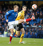 Dean Shiels traps the ball then blooters it over the bar