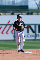 Oregon State Beavers designated hitter Alex McGarry (44) stands on second base during a game against the Gonzaga Bulldogs on February 16, 2019 at Surprise Stadium in Surprise, Arizona. Oregon State defeated Gonzaga 9-3. (Zachary Lucy/Four Seam Images)