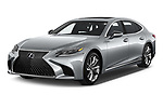 2018 Lexus LS 500h 4 Door Sedan angular front stock photos of front three quarter view