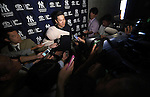 Masahiro Tanaka (Yankees), MARCH 12, 2015 - MLB : New York Yankees starting pitcher Masahiro Tanaka is interviewed after the Major League Baseball Spring Training game between the Atlanta Braves and New York Yankees at George M. Steinbrenner Field in Tampa, Florida, United States. (Photo by AFLO)
