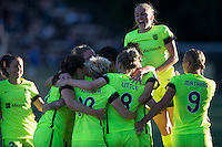 Seattle, WA - Saturday July 23, 2016: Lauren Barnes, Kendall Fletcher, Jessica Fishlock, Kim Little, Elli Reed, Merritt Mathias celebrate a goal during a regular season National Women's Soccer League (NWSL) match between the Seattle Reign FC and the Orlando Pride at Memorial Stadium.