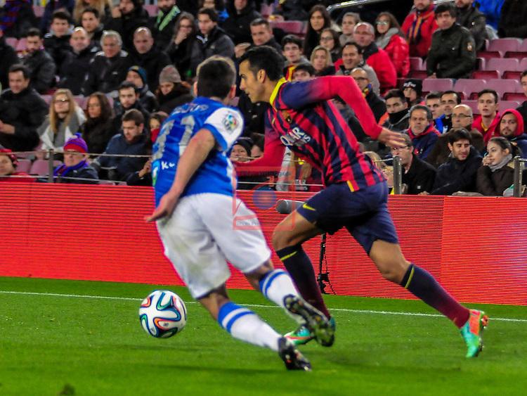 Copa del Rey 2013/2014 - 1/2 final ida.<br /> FC Barcelona vs R. Sociedad: 2-0.<br /> Zaldua vs Pedro Rodriguez.