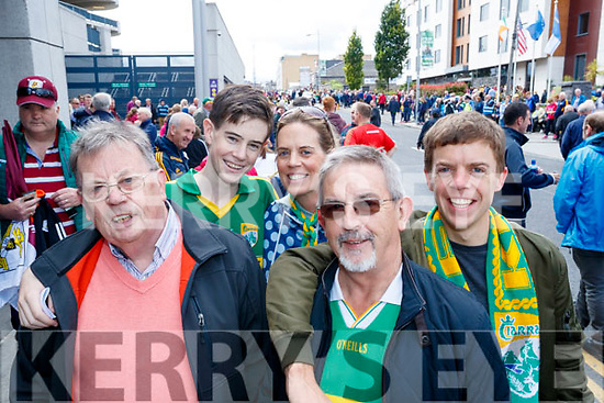 Kerry fans pictured at the All Ireland SFC quarter final Kerry v Galway in Croke Park, Dublin on Sunday were l-r: Tom Sullivan (Asdee), Brian McElligott and Colette McElligott (New York and Asdee) with Michael O'Sullivan and John O'Sullivan (Wexford and Asdee).