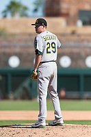 Mesa Solar Sox relief pitcher Sam Sheehan (29), of the Oakland Athletics organization, looks in for the sign during an Arizona Fall League game against the Glendale Desert Dogs at Camelback Ranch on October 15, 2018 in Glendale, Arizona. Mesa defeated Glendale 8-0. (Zachary Lucy/Four Seam Images)