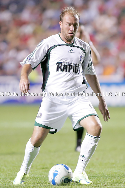 26 August 2006,  Clint Mathis of the Rapids prepares to pass the ball after subbed into the game in the 61st minute.  The MLS Chicago Fire defeated the Colorado Rapids by a score of 1-0 in a regular season  match at Toyota Park, Bridgeview, Illinois..---LIVE IMAGE---