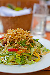 The Kahala Resort and Hotel, located in Honolulu on the souths side of Diamond Head, offers luxurious accommodations and is the only hotel in Oahu with a dolphin program.  The Hoisin Chicken Salad at the Seaside Grill.
