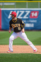 Collin Cowgill (12) of the Salt Lake Bees in action against the Omaha Storm Chasers in Pacific Coast League play at Smith's Ballpark on August 16, 2015 in Salt Lake City, Utah. Cowgill was in Salt Lake on a rehab assignment from the Los Angeles Angels of Anaheim.  Omaha defeated Salt Lake 11-4. (Stephen Smith/Four Seam Images)