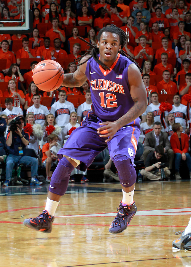 Clemson guard Rod Hall (12) during an ACC basketball game Jan. 13, 2015 in Charlottesville, VA Virginia won 65-42.