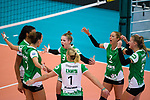 18.11.2018, Halle Berg Fidel, Muenster<br />Volleyball, Bundesliga Frauen, Normalrunde, USC MŸnster / Muenster vs. VfB Suhl Lotto ThŸringen / Thueringen<br /><br />Jubel Kazmiere Telonna Brown (#10 Muenster), Ivana Vanjak (#7 Muenster), Luisa Keller (#3 Muenster), Lisa Thomsen (#1 Muenster), Mareike Hindriksen (#2 Muenster), Lina Alsmeier (#8 Muenster)<br /><br />  Foto &copy; nordphoto / Kurth