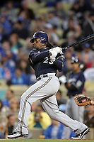 Rickie Weeks #23 of the Milwaukee Brewers bats against the Los Angeles Dodgers at Dodger Stadium in Los Angeles,California on May 16, 2011. Photo by Larry Goren/Four Seam Images