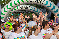 Crowd of Runners at start of 5K  run, Seattle Center, Washington State, WA, America, USA.