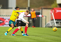 9th February 2020; Broadwood Stadium, Cumbernauld, North Lanarkshire, Scotland; Scottish Cup Football, Clyde versus Celtic; Barry Cuddihy of Clyde holds off the challenge of Boli Bolingoli-Mbombo of Celtic