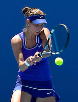 JULIA GOERGES (GER) against POLONA HERCOG (SLO) in the first round of the Women's Singles. Julia Goerges beat Polona Hercog 6-3 7-6...16/01/2012, 16th January 2012, 16.01.2012..The Australian Open, Melbourne Park, Melbourne,Victoria, Australia.@AMN IMAGES, Frey, Advantage Media Network, 30, Cleveland Street, London, W1T 4JD .Tel - +44 208 947 0100..email - mfrey@advantagemedianet.com..www.amnimages.photoshelter.com.