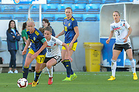 20200304 Faro , Portugal : Swedish Stina Blackstenius (11) and  German midfielder Melanie Leupolz (18) pictured during the female football game between the national teams of Germany and Sweden on the first matchday of the Algarve Cup 2020 , a prestigious friendly womensoccer tournament in Portugal , on wednesday 4 th March 2020 in Faro , Portugal . PHOTO SPORTPIX.BE | STIJN AUDOOREN