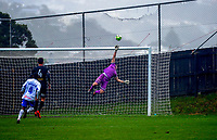 Team Wellington goalkeeper Scott Basalaj makes a late save during the Oceania Football Championship final (first leg) football match between Team Wellington and Lautoka FC at David Farrington Park in Wellington, New Zealand on Sunday, 13 May 2018. Photo: Mike Moran / lintottphoto.co.nz