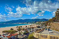 Santa Monica CA; Palisades Park; California Incline; Malibu;  mountains; Palisades Bluffs; Santa Monica CA
