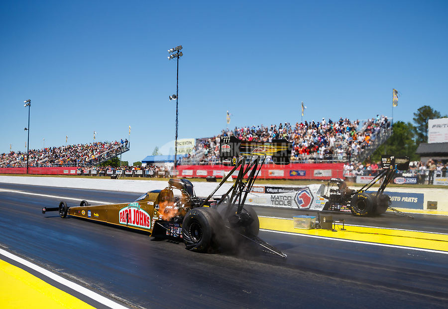 May 7, 2017; Commerce, GA, USA; NHRA top fuel driver Leah Pritchett (near) races alongside Antron Brown during the Southern Nationals at Atlanta Dragway. Mandatory Credit: Mark J. Rebilas-USA TODAY Sports
