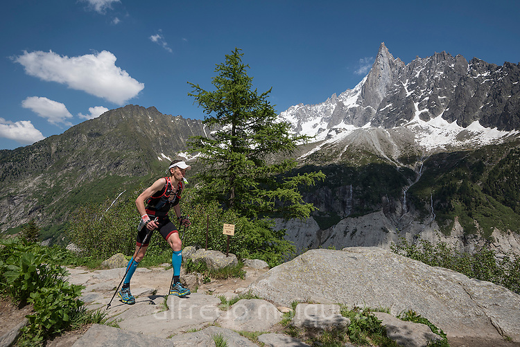 Chamonix trail running 80 Km 2016, Mont Blanc 4810m, Chamonix, Haute Savoie, French Alps, France, Europe