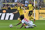 06.10.2018, Signal Iduna Park, Dortmund, GER, DFL, BL, Borussia Dortmund vs FC Augsburg, DFL regulations prohibit any use of photographs as image sequences and/or quasi-video<br /> <br /> im Bild v. li. im Zweikampf Marco Reus (#11, Borussia Dortmund) am Boden Caiuby (#30, FC Augsburg) <br /> <br /> Foto &copy; nph/Horst Mauelshagen
