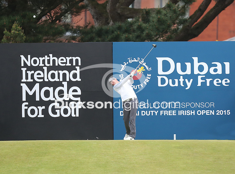 27 May 2015; Rory McIlroy on the 1st Tee<br /> <br /> Dubai Duty Free Irish Open Golf Championship 2015, Pro-Am. Royal County Down Golf Club, Co. Down. Picture credit: John Dickson / DICKSONDIGITAL