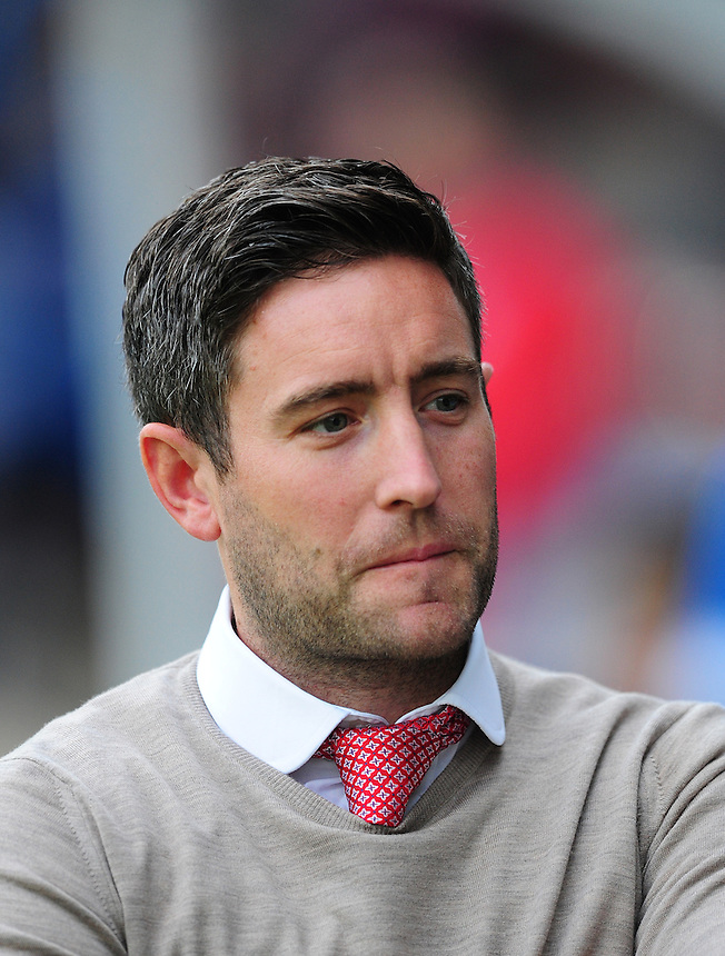 Barnsley's Manager Lee Johnson<br /> <br /> Photographer Chris Vaughan/CameraSport<br /> <br /> Football - Capital One Cup First Round - Scunthorpe United v Barnsley - Tuesday 11th August 2015 - Glanford Park - Scunthorpe<br />  <br /> &copy; CameraSport - 43 Linden Ave. Countesthorpe. Leicester. England. LE8 5PG - Tel: +44 (0) 116 277 4147 - admin@camerasport.com - www.camerasport.com
