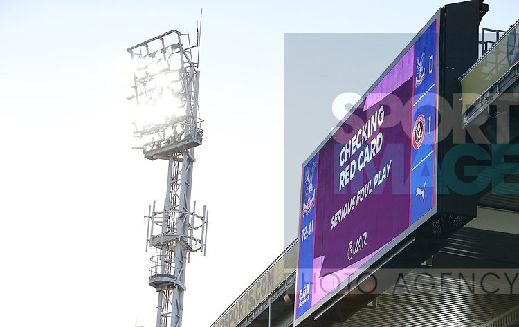 The score board shows that there is a VAR review for a red card initially shown to Crystal Palace's Joel Ward during the Premier League match at Selhurst Park, London. Picture date: 1st February 2020. Picture credit should read: Paul Terry/Sportimage