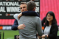 Phil Neville congratulates Salford City Manager, Graham Alexander at the final whistle during AFC Fylde vs Salford City, Vanarama National League Football Promotion Final at Wembley Stadium on 11th May 2019