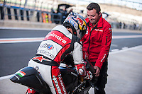 Arthur Sissis and his mechanic in pit line at pre season winter test IRTA Moto3 & Moto2 at Ricardo Tormo circuit in Valencia (Spain), 11-12-13 February 2014