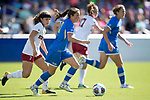 ORLANDO, FL - DECEMBER 03: Jessie Fleming #21 of UCLA pushes the ball upfield against Stanford University during the Division I Women's Soccer Championship held at Orlando City SC Stadium on December 3, 2017 in Orlando, Florida. Stanford defeated UCLA 3-2 for the national title. (Photo by Jamie Schwaberow/NCAA Photos via Getty Images)