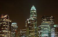 Office buildings are are seen at night in uptown Charlotte NC.