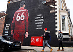 A general view of fans walking past a mural of Trent Alexander-Arnold during the Premier League match at Anfield, Liverpool. Picture date: 1st February 2020. Picture credit should read: James Wilson/Sportimage