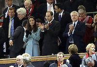 Pictured L-R: Princess Kate, Prince William and First Minister for Wales Carwyn Jones applaud after the final whistle. Saturday 08 November 2014<br />
