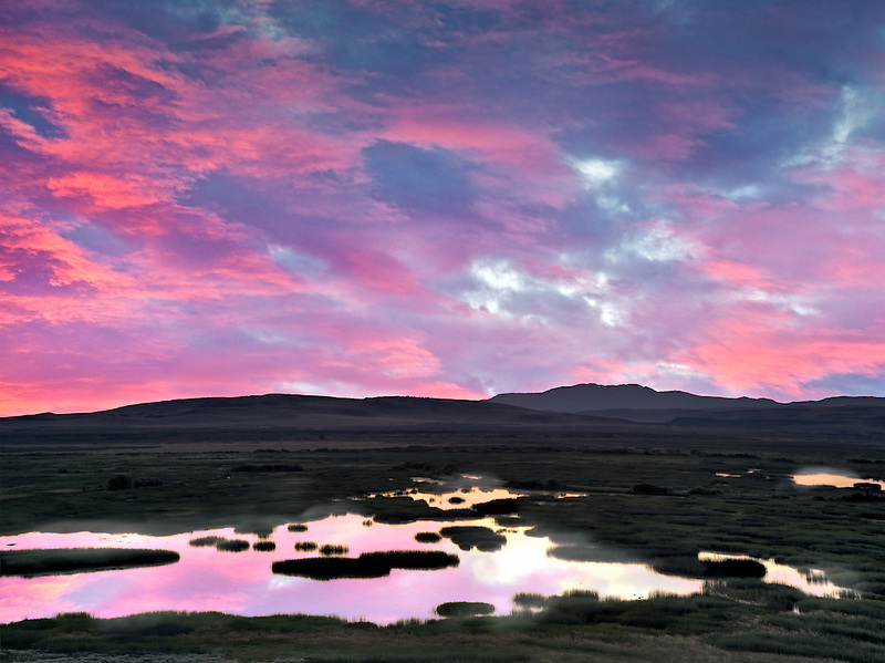 Buena Vista Ponds at Sunrise. Malhuer National Wildlife refuge. Oregon A sky has been added