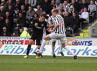 Marc McAusland tackled Anthony Watt in the St Mirren v Celtic Clydesdale Bank Scottish Premier League match played at St Mirren Park, Paisley on 20.10.12.