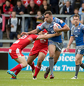 June 4th 2017, AJ Bell Stadium, Salford, Greater Manchester, England;  Rugby Super League Salford Red Devils versus Wakefield Trinity; James Batchelor of Wakefield Trinity gets tackled by Kris Brining of Salford