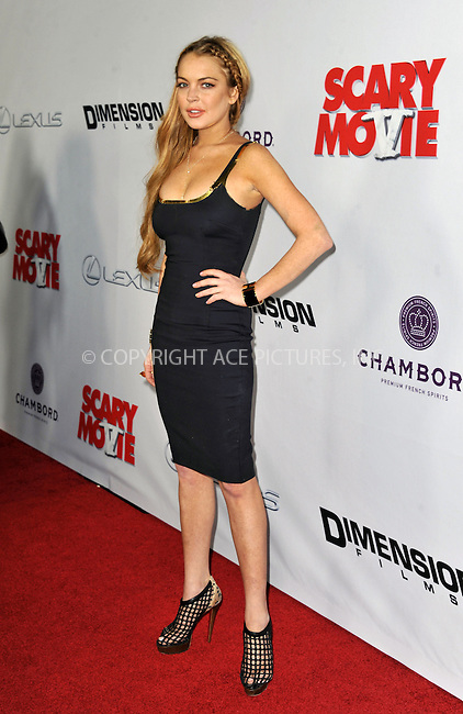 WWW.ACEPIXS.COM....April 11 2013, LA....Lindsay Lohan arriving at the 'Scary Movie 5' Los Angeles Premiere at ArcLight Cinemas Cinerama Dome on April 11, 2013 in Hollywood, California..........By Line: Peter West/ACE Pictures......ACE Pictures, Inc...tel: 646 769 0430..Email: info@acepixs.com..www.acepixs.com