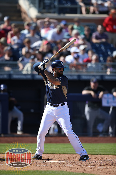 PEORIA, AZ - MARCH 8:  Matt Kemp of the San Diego Padres bats against the Colorado Rockies during a spring training game at the Peoria Sports Complex on March 8, 2015 in Peoria, Arizona. (Photo by Brad Mangin)