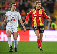 20191102 - LENS , FRANCE : LOSC's Eva Fremaux pictured with Arras' Courtney Strode during the female soccer match between Arras Feminin and Lille OSC feminin, on the 8th matchday in the French Women's Ligue 2 – D2 at the Stade Bollaert Delelis stadium , Lens . Saturday 2 November 2019 PHOTO DAVID CATRY | SPORTPIX.BE
