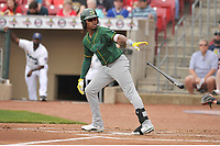 Beloit Snappers center fielder JeVon Shelby (5) in action during a game against the Cedar Rapids Kernels at Veterans Memorial Stadium on April 9, 2017 in Cedar Rapids, Iowa.  The Kernels won 6-1.  (Dennis Hubbard/Four Seam Images)