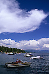 Recreational pleasure boats in Lake Tahoe, California