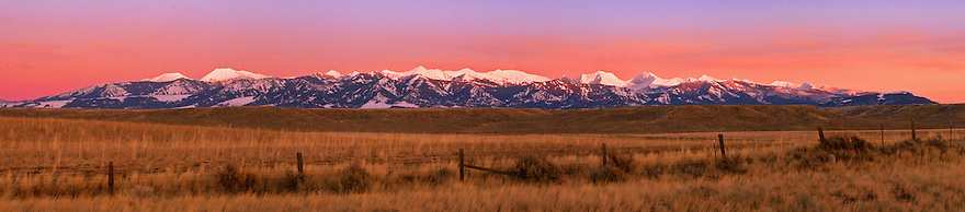 The Crazy Mountains rise from the plains near Clyde Park, Montana.