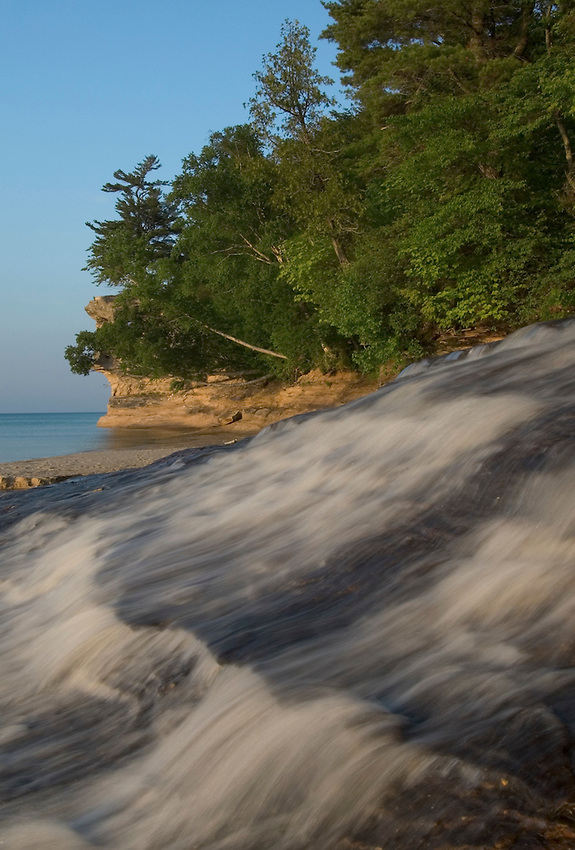Chapel Creek tumbles into Lake Superior in Pictured Rocks National Lakeshore near Munising, Michigan.