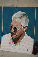 CULTUUR: GOINGARIJP: 04-05-2015, Fok SKS Skûtsjes en portretten van de schippers geschilderd door oud skûtsjeschipper Anne Tjerkstra, Tjitte Brouwer, ©foto Martin de Jong