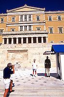 Parliament . Tourists at Unknown Soldier Memorial, Athens, Greece